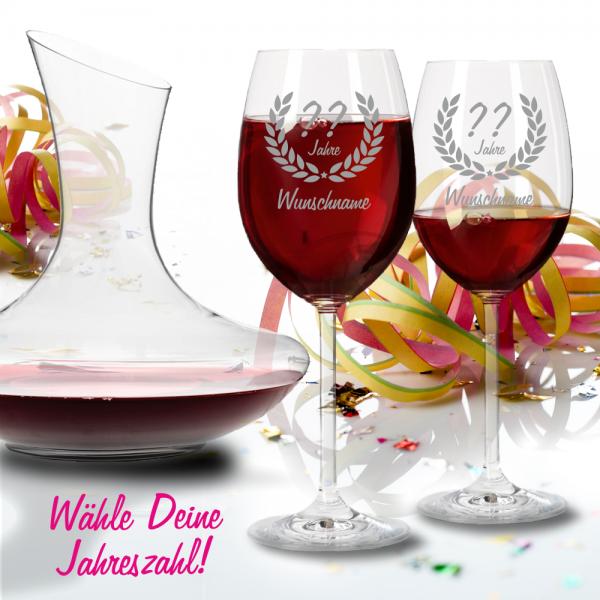 Personalisierte Rotweingläser mit Dekanter Geschenk-Set zum Geburtstag - Wunschjahr