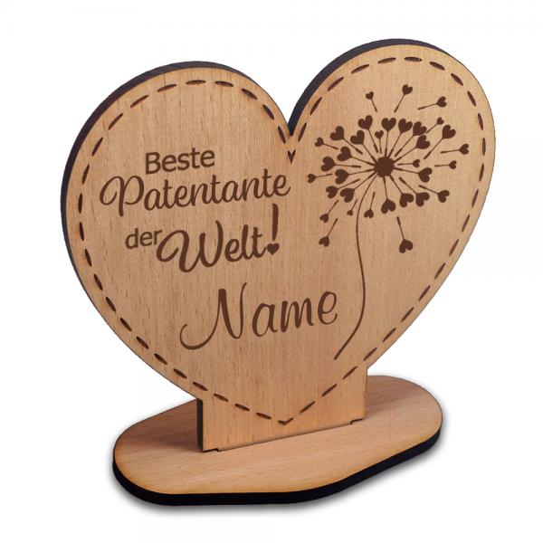 """Aufsteller aus Holz für die """"Beste Patentante"""" in Herzform mit einer Pusteblume"""