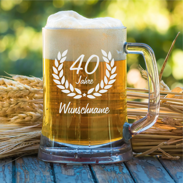 Personalisierter Bierkrug zum 40. Geburtstag 0,5 l