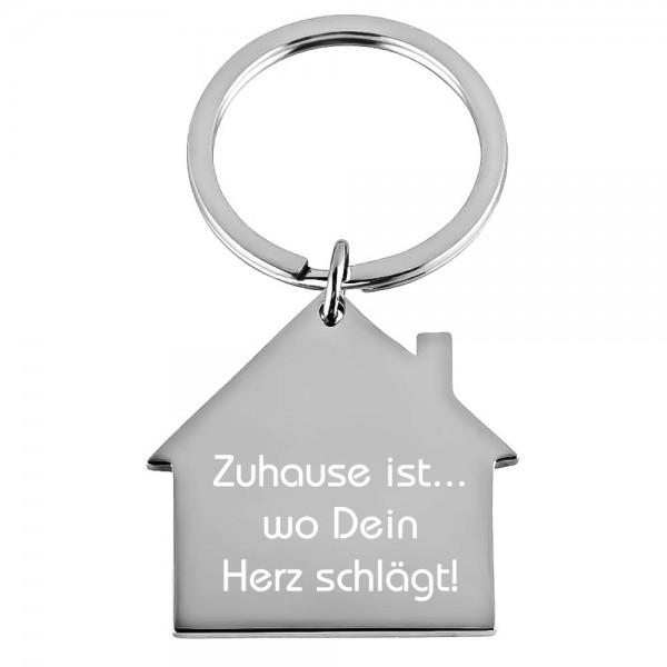 Edelstahl-Schlüsselanhänger mit Gravur Haus