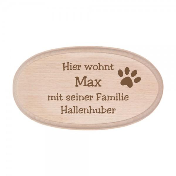 Türschild aus Buchenholz mit Gravur - Hundepfote