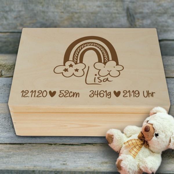 Personalisierte Erinnerungsbox Regenbogen mit Wunschgravur