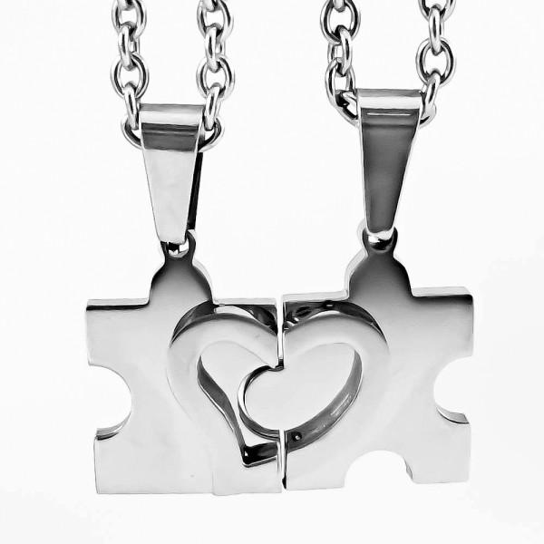 Trendgravur Partneranhänger Puzzle silber