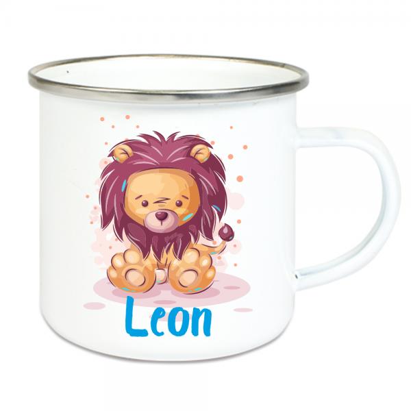 Emaille Tasse für Kinder mit Deinem Namen - Löwe