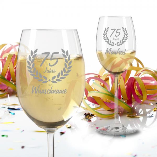 Personalisiertes Weißweinglas zum 75 Geburtstag