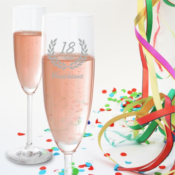 Sektglas zum 18. Geburtstag - Dein Wunschname
