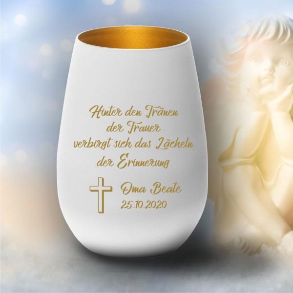 Personalisiertes Windlicht Erinnerungslicht - Hinter den Tränen der Trauer ...
