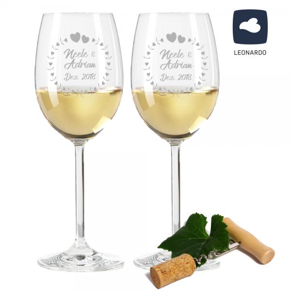 Weißweinglas-Set Herzkreis von Leonardo mit Deinen Wunschnamen