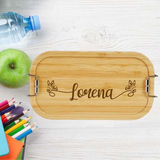 personalisierte Brotdose Kinder Lunchbox Metall mit Holzdeckel Namen Schmetterling