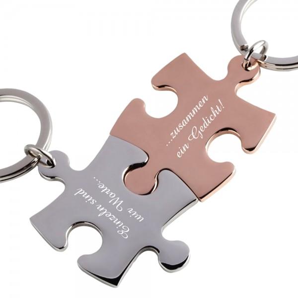 Trendgravur Partner-Schlüsselanhänger mit Gravur Puzzle silber rosegold