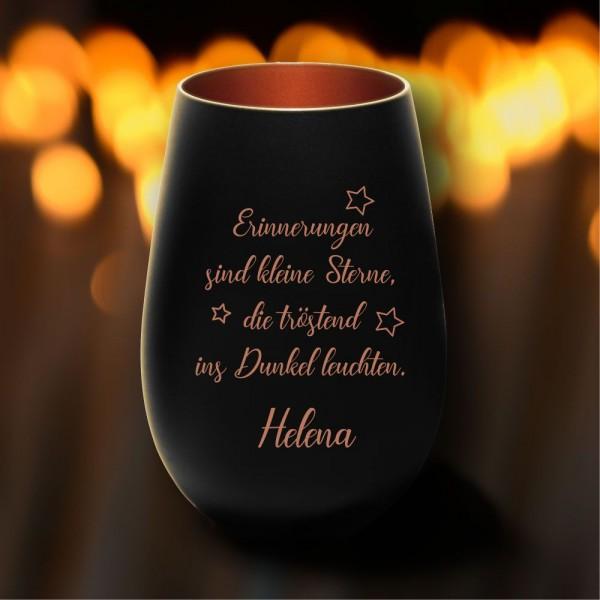 Personalisiertes Windlicht Erinnerungslicht - Erinnerungen in schwarz-bronze