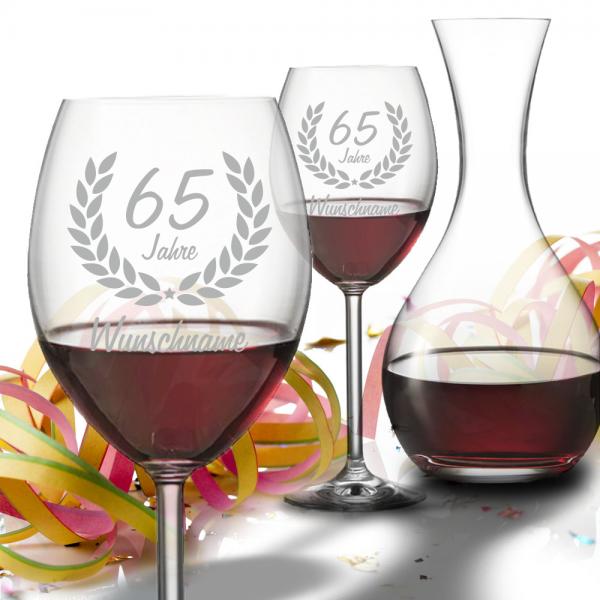 Geschenk-Set Rotwein mit Dekanter zum 65. Geburtstag - Wunschname