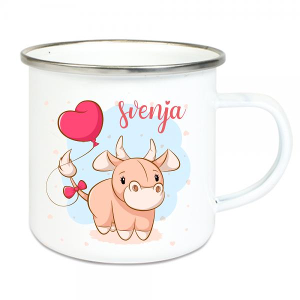 Emaille Tasse Kinder mit Deinem Namen -Kuh mit Luftballon