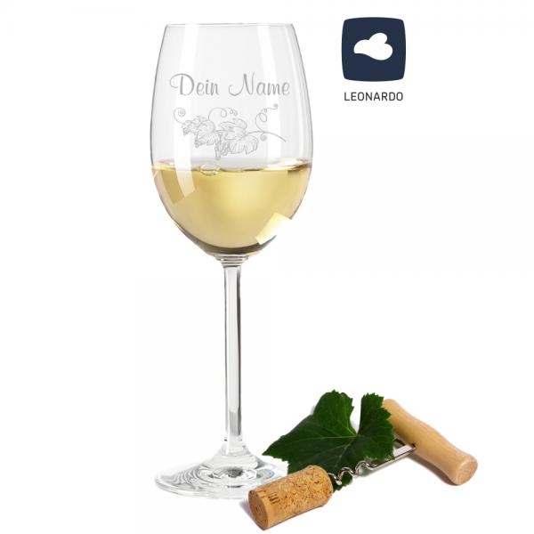 Weißweinglas Leonardo mit Weinrebe und Deinem Wunschnamen
