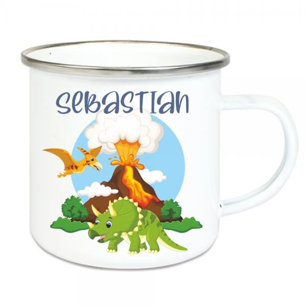 Emaille Tasse für Kinder mit Deinem Namen -Dinos