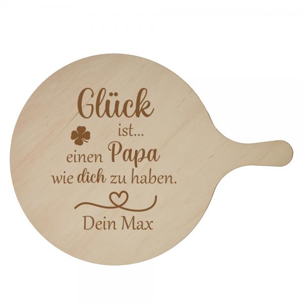 Pizzabrett Glück ist einen Papa wie dich zu haben mit Wunschnamen