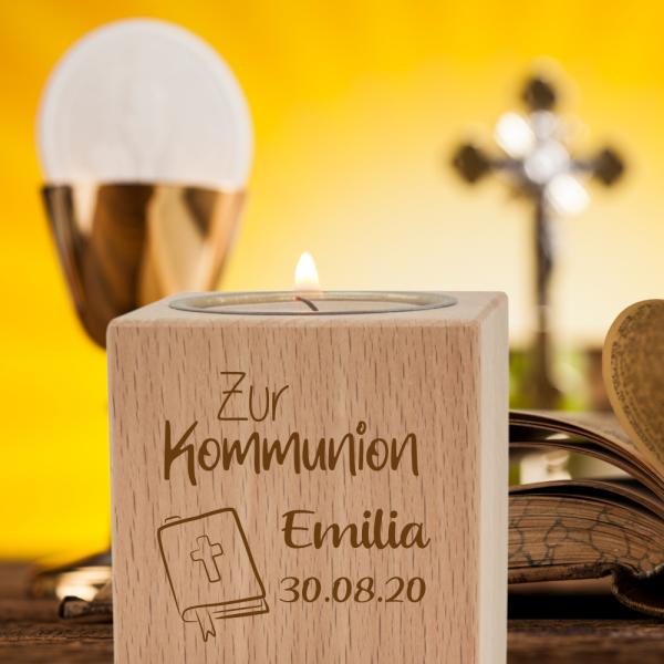 Teelichthalter mit Gravur klein- Kommunion Gesangbuch