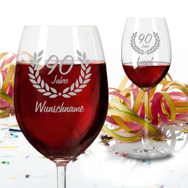 Personalisiertes Rotweinglas zum 90. Geburtstag