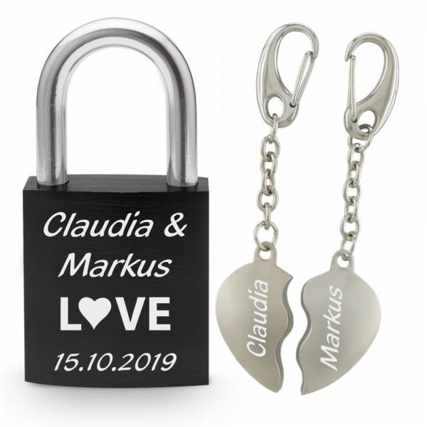 Liebesschloss schwarz+ Partner-Schlüsselanhänger geteilte Herzen mit Gravur