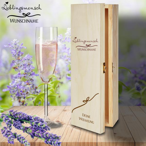 Geschenkset- Sektglas mit Gravur und Holzbox Lieblingsmensch