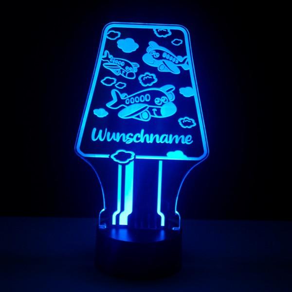 Kinder Nachtlicht Lampe mit Namensgravur Flugzeuge
