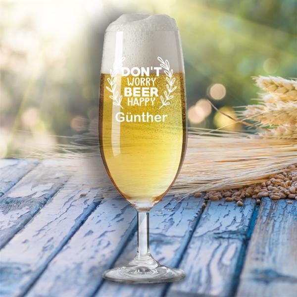 """Bierglas """"Don´t worry beer happy"""" mit Wunschnamen"""