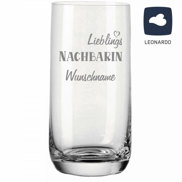 Trinkglas Lieblings-Nachbarin mit Wunschnamen