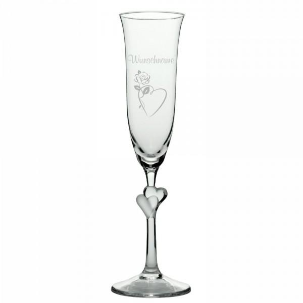 Sektglas L'Amour weiss mit Wunschnamen -Herzrose