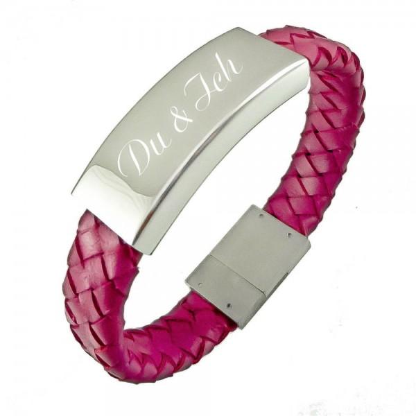 Trendgravur Lederarmband mit Gravur pink