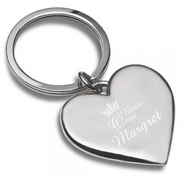 Herz-Schlüsselanhänger mit Gravur Beste Oma