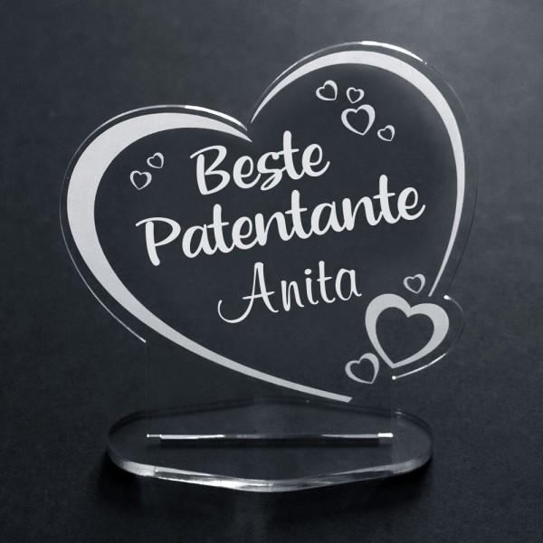 Deko-Aufsteller aus Acryl Herz für die Beste Patentante