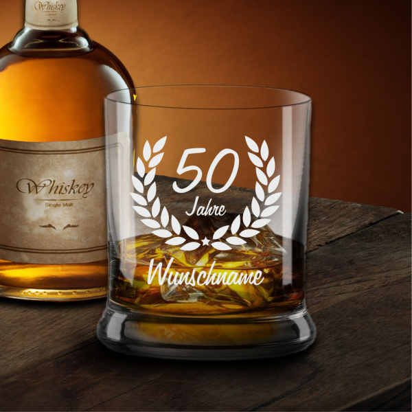 Whiskyglas zum 50. Geburtstag - Dein Wunschname