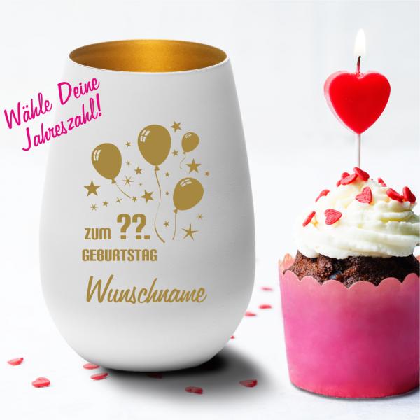 Personalisiertes Windlicht zum Geburtstag -Luftballon mit Deinem Wunschjahr