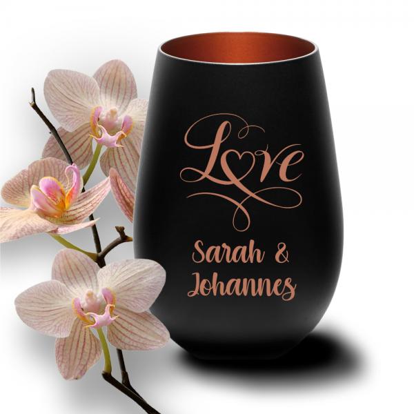 schwarzes Windlicht zur Hochzeit -Love mit Deinen Wunschnamen