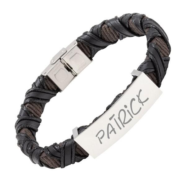 geflochtenes Kunstleder-Armband mit Gravur schwarz-braun