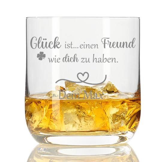 personalisiertes Whiskyglas Glück ist einen Freund wie dich zu haben mit Wunschnamen