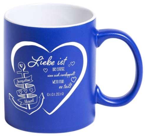 """Tasse """"Liebe ist..."""" mit deiner Wunschgravur"""