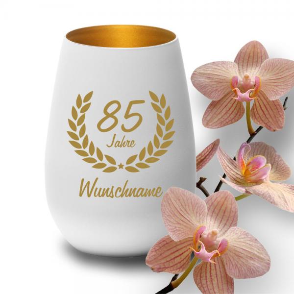 Windlicht zum 85. Geburtstag mit Deinem Wunschnamen weiss-gold