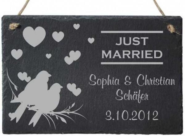 Dekoschild Geschenk Schiefer zur Hochzeit - JUST MARRIED