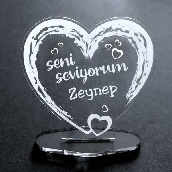 Deko-Aufsteller Herz aus Acryl mit Namen -seni seviyorum