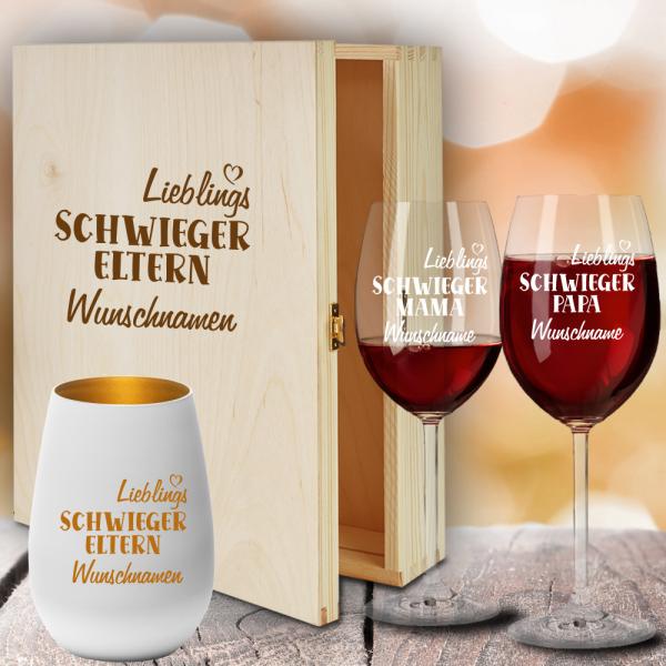 Geschenkbox Rotweingläser von Leonardo mit Windlicht für Deine Lieblings-Schwiegereltern