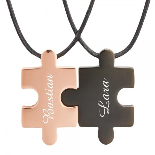 Partner-Anhänger Puzzle mit Gravur rosegold schwarz