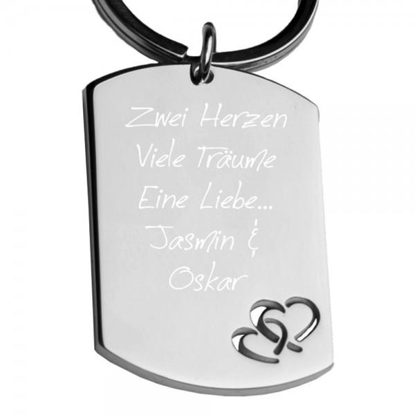 Edelstahl-Schlüsselanhänger mit Gravur Dog-Tag Herzen