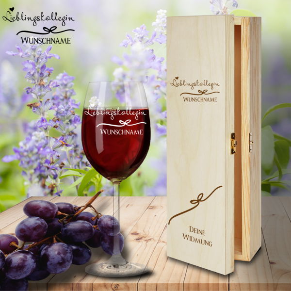 Geschenk Box und Rotweinglas von Leonardo Lieblingskollegin mit Namensgravur
