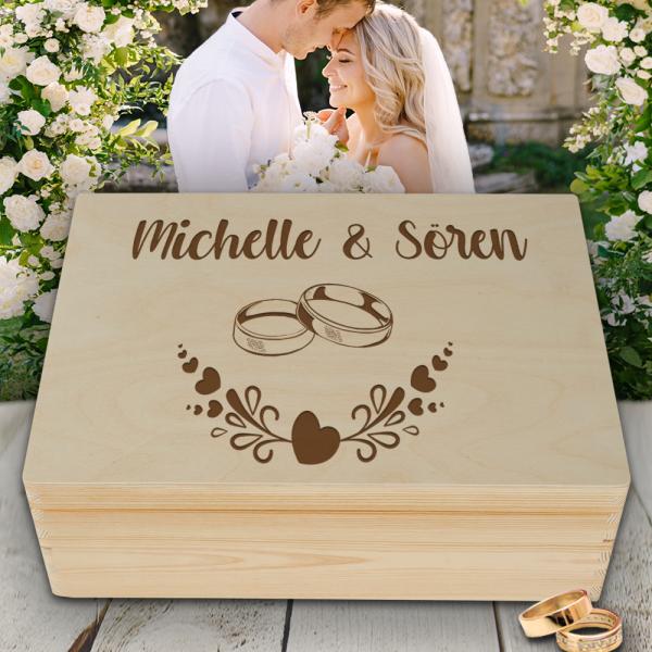 Personalisierte Erinnerungsbox Hochzeit Motiv Ringe 2 mit Wunschgravur
