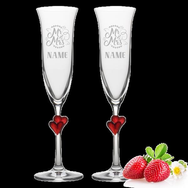 Sektglas-Set Herzen rot zur Hochzeit Mr. & Mrs mit Namen