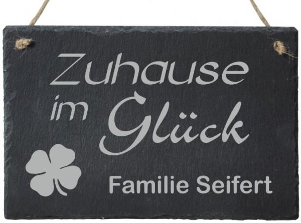 Schiefer-Türschild mit Deinem Familiennamen Zuhause im Glück