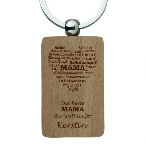 Holz-Schlüsselanhänger mit Gravur MAMA