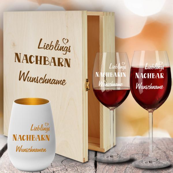 Geschenkbox Rotweingläser von Leonardo mit Windlicht für Deine Lieblings-Nachbarn