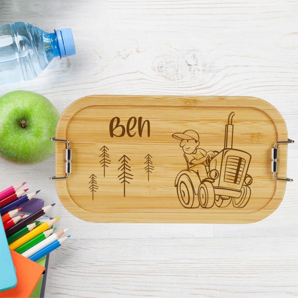 personalisierte Brotdose Kinder Lunchbox Metall mit Holzdeckel Traktor Farmer